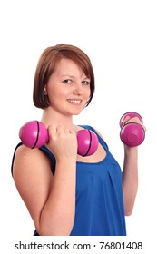 Attractive teenage girl working-out with dumbbells