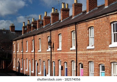 Attractive terrace of red brick houses in Chester UK