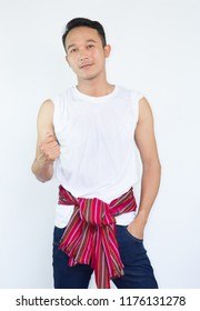 Attractive thai man  with loincloth Thai traditional style looking confident and handsome.