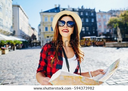 Attractive Tourist Girl Brown Hair Wearing Stock Photo (Edit Now ... ab113b876e29