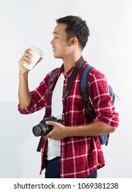 attractive tourist man with camera, Happy photographer  with digital camera