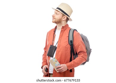 attractive tourist man smiling on white background