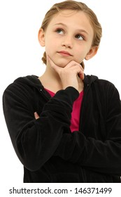 Attractive Tween Girl Child Thinking Seriously over White.