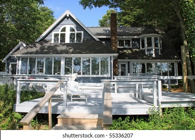 Attractive typical beach house in the midwest, set on a lake.