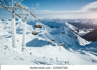 Attractive view on skiing area on a frosty day. Location place Paznaun valley, ski resort Silvretta Arena Ischgl / Samnaun on the Swiss Austrian border, Tyrol, Europe. Discover the beauty of earth.