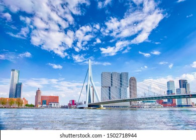 Attractive View of Renowned Erasmusbrug (Swan Bridge) in  Rotterdam in front of Port and Harbour. Picture Made At Day. Horizontal Image