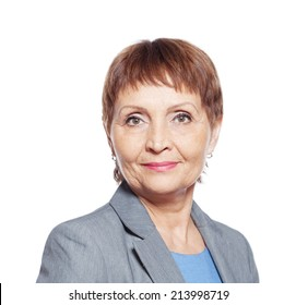 attractive woman 50 years isolated on white