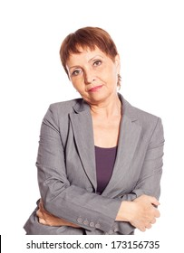 attractive woman 50 years old, isolated on white background