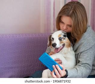 attractive woman with Australian shepherd merle dog make selfie with phone