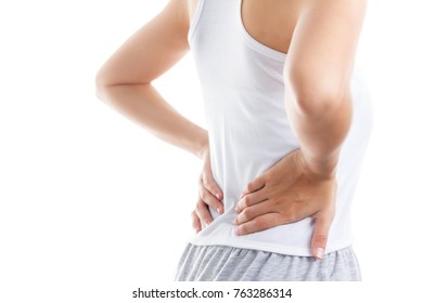 Attractive woman  back pain people, healthcare and problem concept - close up of unhappysuffering from pain in back  on white isolated