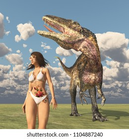 Attractive woman in bikini and the dinosaur Acrocanthosaurus Computer generated 3D illustration