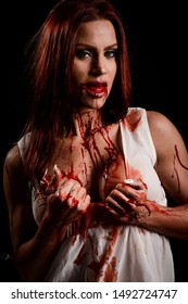 Attractive Woman with blood all over her