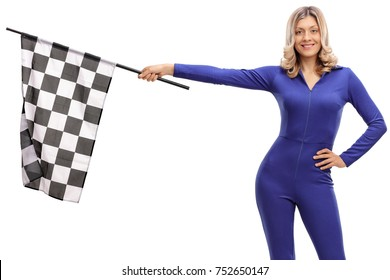 Attractive woman in a blue racing suit holding a checkered race flag isolate on white background