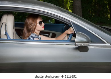 Attractive woman in car
