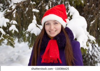 attractive woman in christmas hat near spruce at park