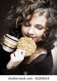 attractive woman with coffee and cake