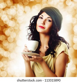 Attractive woman with a cup of coffee