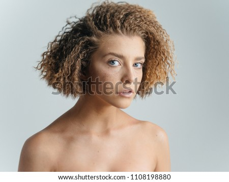 f30cf69fcb6da Attractive Woman Curly Hair Bare Shoulders Stock Photo (Edit Now ...