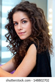 attractive woman with curly hair beauty portrait