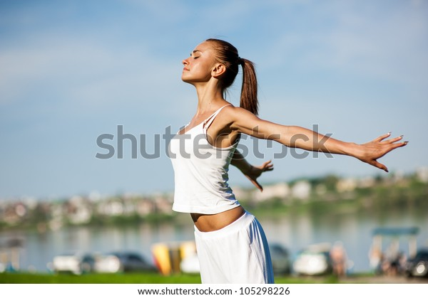 attractive woman is engaging in sports