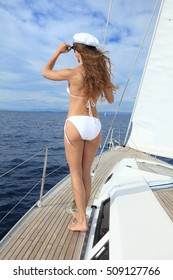 Attractive woman enjoy sailing