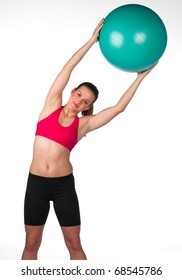 attractive woman exercise with pilates ball