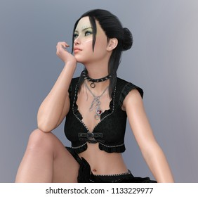 Attractive woman in fashionable clothes Computer generated 3D illustration