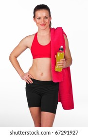 attractive woman in fitness clothes with energy drink bottle