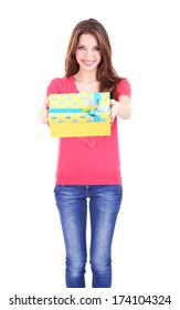 Attractive woman with gift box, isolated on white
