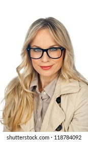 attractive woman with glasses isolated on white background