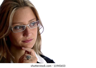 attractive woman with glasses look away