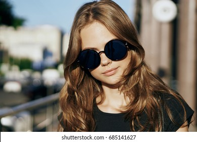 Attractive woman in glasses portrait style