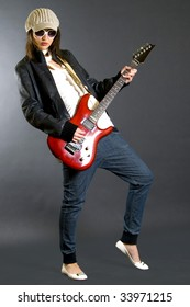attractive woman guitarist