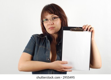 attractive woman holding clipboard #11