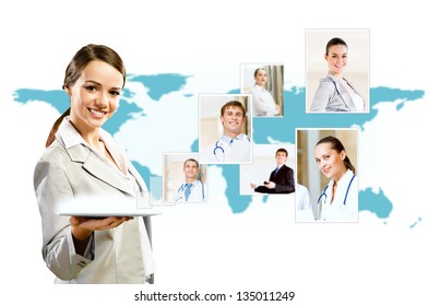 attractive woman holding a tablet pc and smiling, concept of social networks, collage