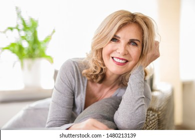 attractive woman at home positive smiling