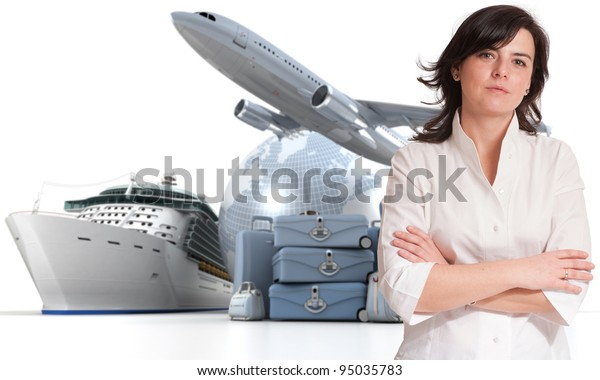 Attractive woman with an international tourism background