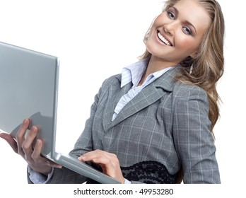 attractive woman with laptop smiling