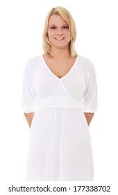 Attractive woman in light summer dress