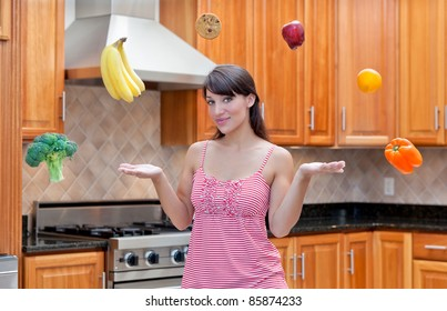 Attractive woman ponders healthy food and diet options