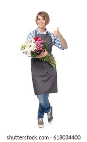 attractive woman professional florist, gardener or botanist with bunches of garden flowers making thumb up gesture isolated on white background. floristry and business concept. advertisement gesture