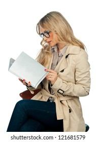 attractive woman reading book with blank cover