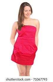 An attractive woman in a red dress posing isolated against white background