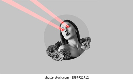 Attractive woman shoots laser beams from her eyes. Surreal portrait. Art collage.