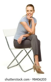 Attractive woman sitting on chair