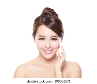 attractive woman smile face with health skin isolated on white background, asian