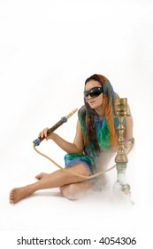 attractive woman smoking water pipe