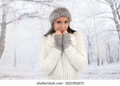 Attractive woman in the snow