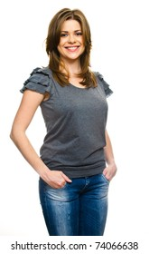 Attractive woman standing against white background