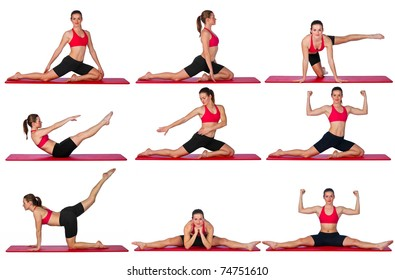 attractive woman stretching on the floor mat collection